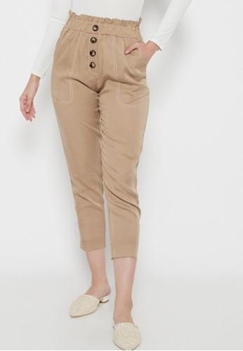 Odiva Woman beige HESYA BUTTON STRAIGHT  PANTS BEIGE 3F632AA7B8B83EGS_1