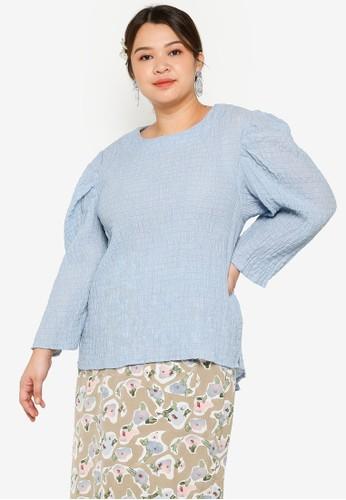 Lubna blue Plus Size Gigot Sleeve Top 7EDCFAA4330A90GS_1