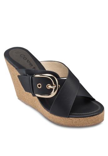 Covet 扣環雙帶楔型跟涼zalora 包包 ptt鞋, 女鞋, 楔形涼鞋