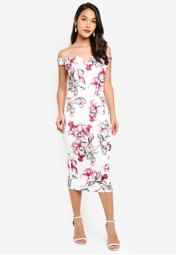 8cd2451e5243 Buy MISSGUIDED Floral V Bar Bardot Midi Dress Online | ZALORA Malaysia