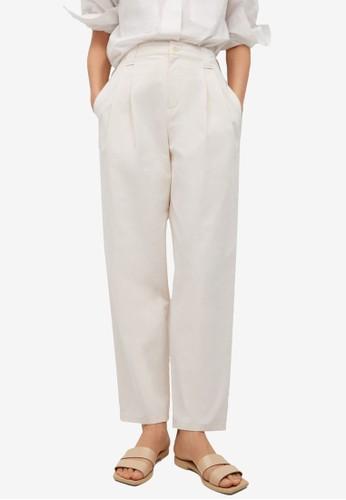 Mango white Pleat Straight Trousers 753F4AA7F73EBDGS_1