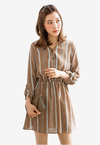 Tokichoi brown Contrast Stripe Printed Dress 4444AAAC308EDCGS_1