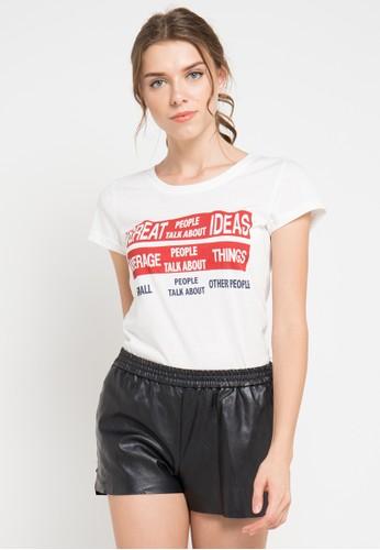 MEIJI-JOY white Print Great People short sleeve Tshirt ME642AA0VRJ4ID_1
