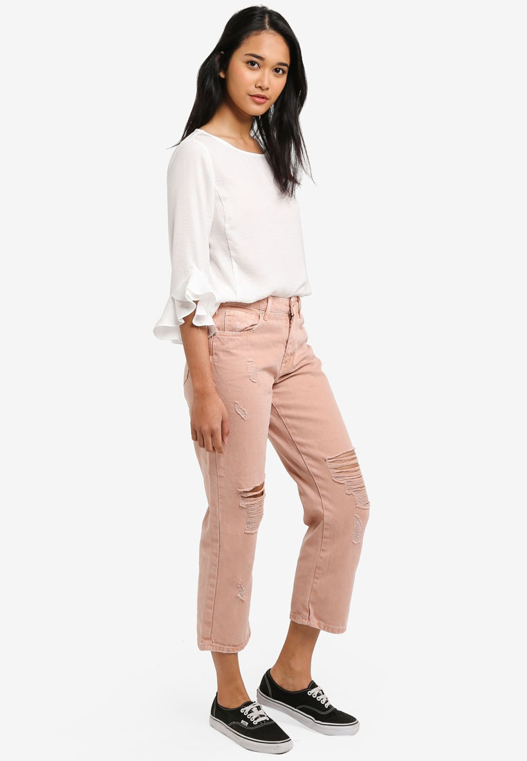 Straight Chad Misty Rose Denim Jeans Crop ONLY Col 5aKdyqq