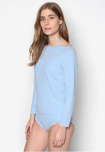 PINK N' PROPER blue Thalassa Scallop Hem Three Piece Long Sleeve Swimsuit PI108US53RQWMY_1