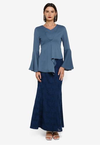 Zalia blue Asymmetrical Peplum Kurung 4969CAA87F0A59GS_1