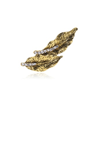 Glamorousky white Simple and Fashion Plated Gold Double Leaf Brooch with Cubic Zirconia 48921AC49CE987GS_1
