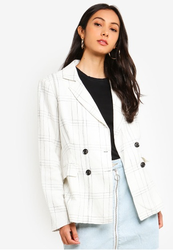 Glamorous white Black Check Jacket 4EB89AAB1E2901GS_1