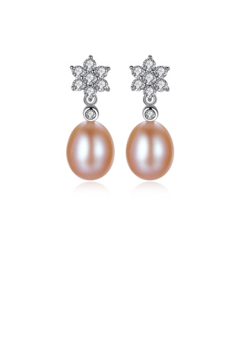 Glamorousky white 925 Sterling Silver Fashion and Elegant Flower Pink Freshwater Pearl Earrings with Cubic Zirconia A4E18ACD3BACFFGS_1