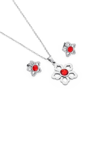Glamorousky red Fashion and Elegant Hollow Flower 316L Stainless Steel Necklace and Stud Earring Set with Red Cubic Zirconia DAC70ACA8C5C9DGS_1