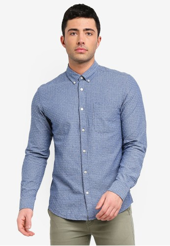 Only & Sons blue Ken Jacquard Dobby Shirt F1C36AAEED3401GS_1