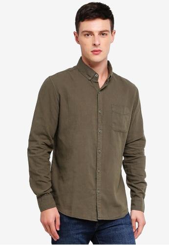 Cotton On 綠色 Premium Linen Cotton Long Sleeve Shirt 96C35AA3D81BB4GS_1