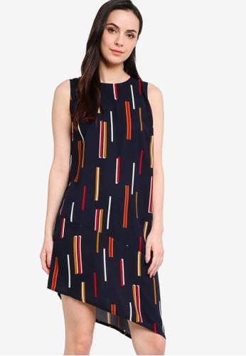 ZALORA WORK navy Colourblock Asymmetric Dress 9B004AA578BCE9GS_1