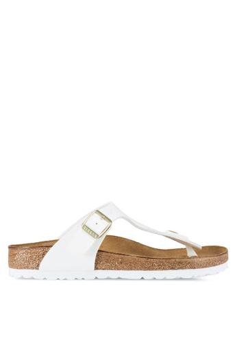 Birkenstock white Gizeh Patent Sandals BI090SH72JQHMY_1