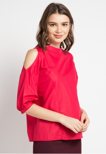ELLE red Perforated Sleeve With Back Zipper Blouse 31C29AA3E38E48GS_1