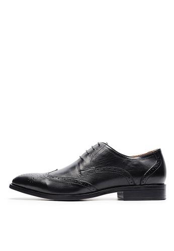 法式雕花。繫帶打蠟牛皮牛津鞋-04704-黑色, esprit 請人鞋, 皮鞋