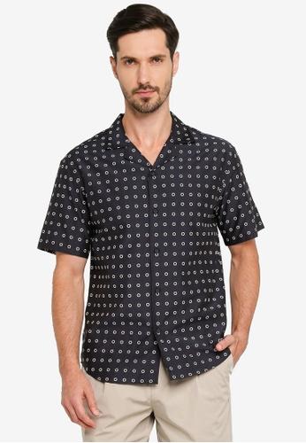 URBAN REVIVO blue Fashion Polka Shirt 25937AA5C65310GS_1