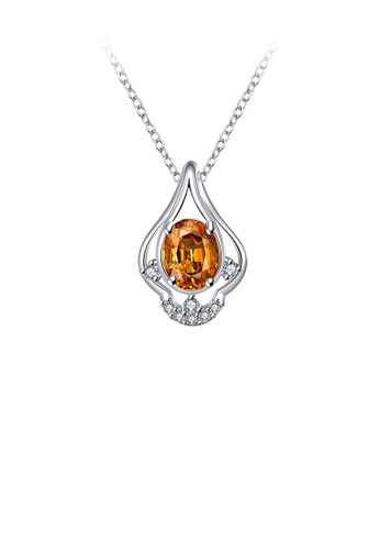 Glamorousky gold Fashion and Elegant Water Drop Pendant with Champagne Cubic Zircon and Necklace 8AE39ACC837BB4GS_1