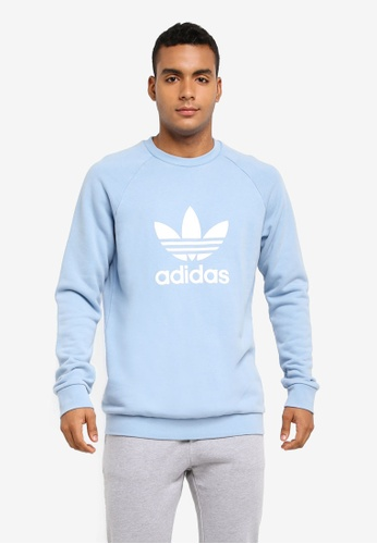 adidas blue adidas originals trefoil crew sweatshirt AD372AA0SUMRMY_1