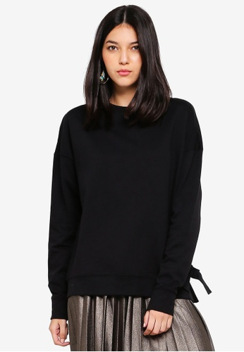 OVS black Cotton Pullover With Side Ties 242E8AA17DFAA5GS_1