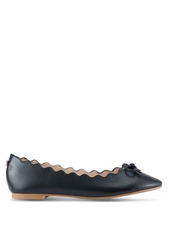 Velvet black Scalloped Edge Ballerina Flats with bow 37670SH36D8783GS_1
