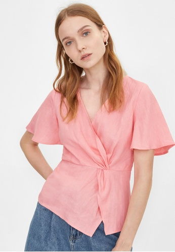 Pomelo pink Purpose V Neck Wrap Top - Pink FDE88AA157C981GS_1