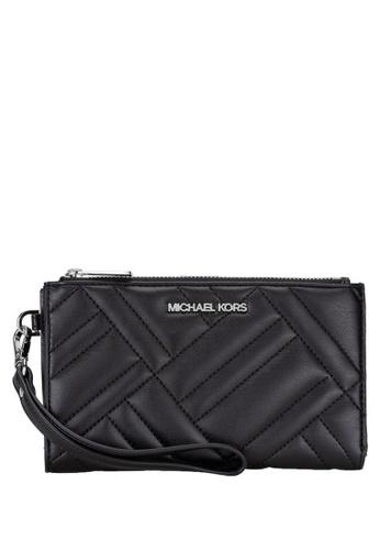 MICHAEL KORS black Michael Kors Peyton Large Double Zip Wristlet - Black (Silver Logo) A0CDEAC1BC0382GS_1