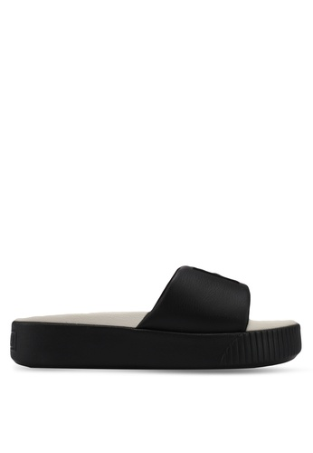 Puma black Platform Slide Shoes PU549SH0SWFLMY_1