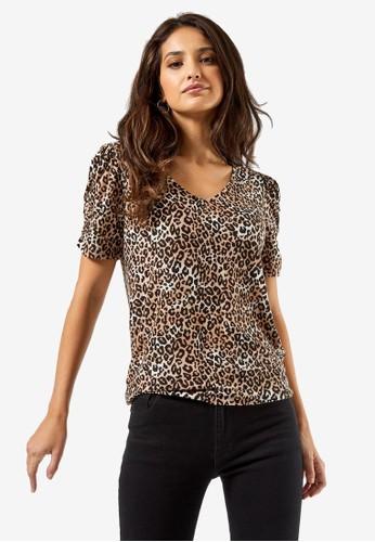 Dorothy Perkins brown Animal Printed Ruched Sleeve Top 150C2AA226B79BGS_1