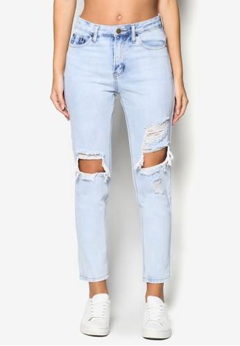 Ripped Straight Cesprit暢貨中心ut Jeans, 服飾, Double Denim