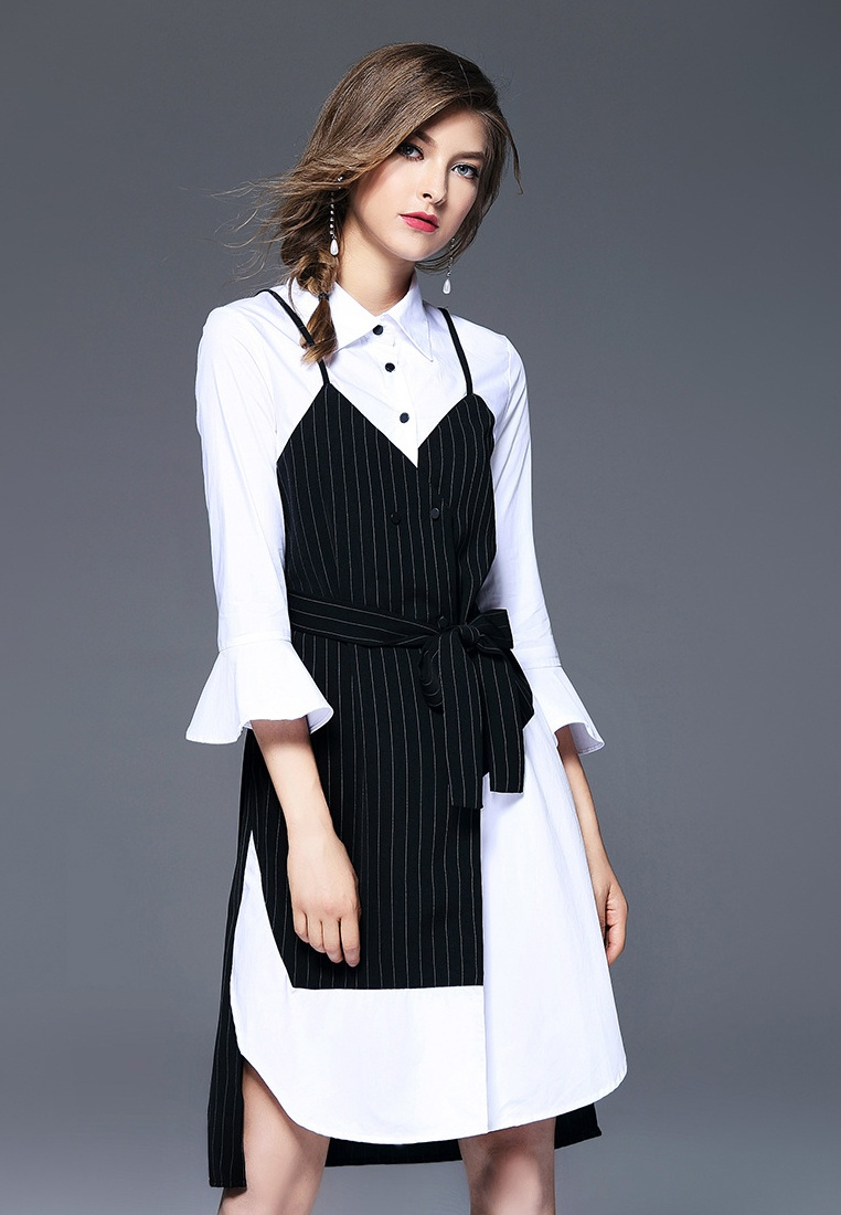 Black Shirt Fake Piece New Dress 2018 Sunnydaysweety Two Spring White CA031497 pwXqzU