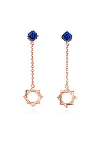MBLife silver 925 Sterling Silver Red Plated with Blue CZ Star Chain Stud Earrings 27D41AC74458D1GS_1