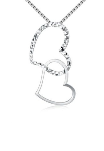 MaBelle silver 14K/585 White Color Gold Gold Hearts Pendant With Silver Necklace 475E5AC3531E1CGS_1