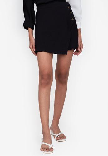 ZALORA BASICS black Wrapover Shorts with Buttons D9DE2AA515DB0BGS_1