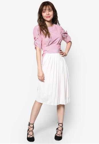 褶飾拼接後繫帶及膝洋esprit outlet台北裝, 服飾, 洋裝