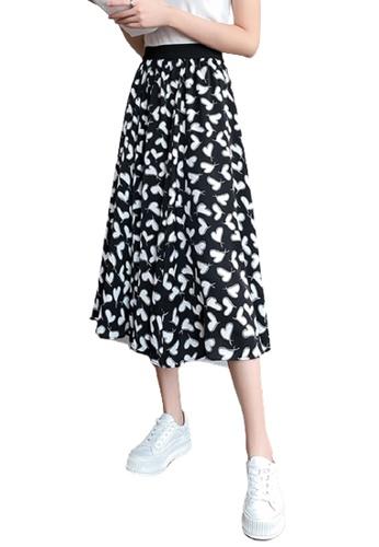 Halo black Heart Printed Skirt 84F9DAAAB2B1C3GS_1