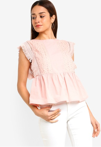 ZALORA pink Embroidered Peplum Top 6A1ADAA9BE6023GS_1