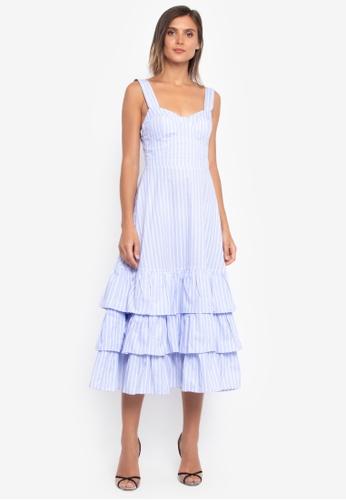 NOBASIC blue Stripe Ruffled Dress AF2B5AA5D3989EGS_1