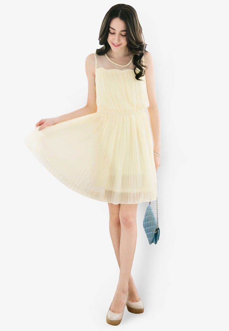 Pleated Dress with Mesh