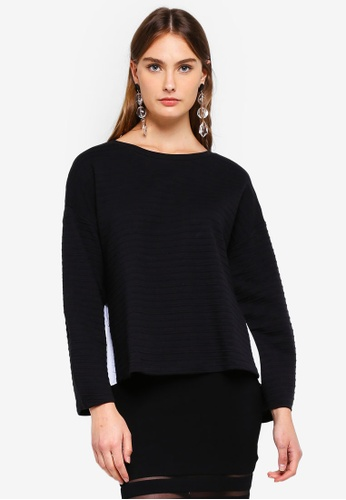 French Connection black Freida Jersey Scoop Pleat Back F543FAA6139281GS_1