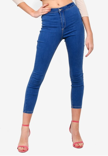 MISSGUIDED blue Petite Vice High Waist Skinny Jeans 373FEAA6B97333GS_1