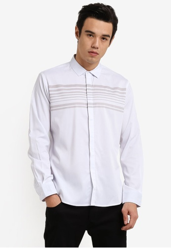 ZALORA white Engineered Striped Long Sleeve Shirt 9D3CAAA00CC1DCGS_1
