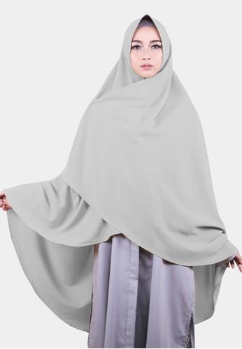 COTTON BEE silver Khimar Celine Pet Hijab Syari Jilbab Jumbo Kerudung Muslim - Light Grey 9C418AA1762E72GS_1