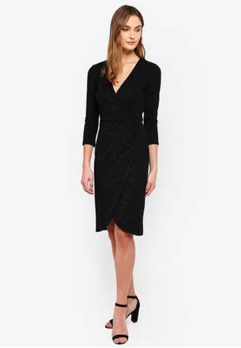96a0bac4ae3 Shop JACQUELINE DE YONG Carol 3 4 Glitter Wrap Dress Online on ZALORA  Philippines