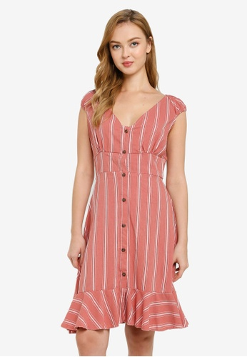 Brave Soul brown Button Through Short Sleeve Dress 8C0A0AA1DBAA43GS_1