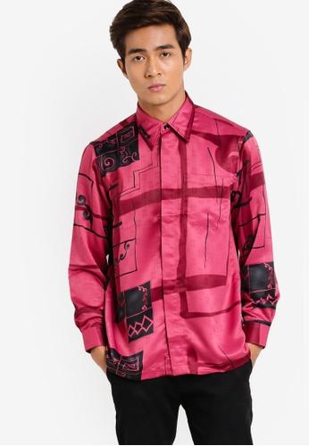 Gene Martino pink Long Sleeve Batik Shirt GE222AA91HDCMY_1
