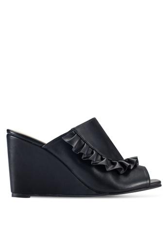ZALORA 黑色 露趾起褶穆勒楔型鞋 FACA0SH2BD2856GS_1