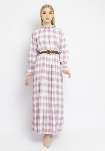 Just Out lilac purple Hameeda Checkered Maxi Dress D2E45AABAB49BCGS_1
