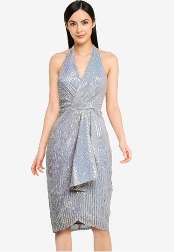 Goddiva silver Handkerchief Sequin Halter Neck Midi Dress 81B6CAA3E7D7DCGS_1