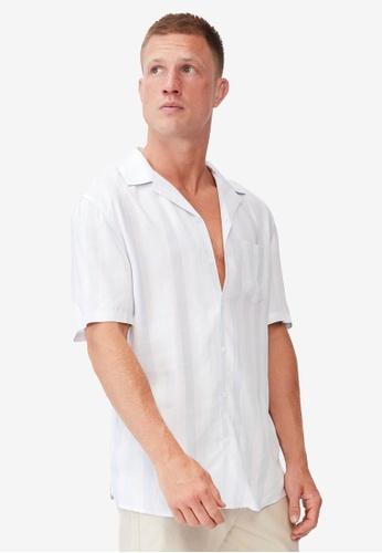 Cotton On blue Textured Shorts Sleeve Shirt 1D49DAA85D9772GS_1